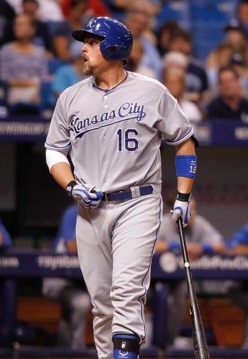Jul 8, 2014; St. Petersburg, FL, USA; Kansas City Royals designated hitter Billy Butler (16) at bat against the Tampa Bay Rays at Tropicana Field. Mandatory Credit: Kim Klement-USA TODAY Sports