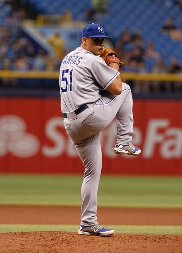 Jul 8, 2014; St. Petersburg, FL, USA; Kansas City Royals starting pitcher Jason Vargas (51) throws a pitch against the Tampa Bay Rays at Tropicana Field. Mandatory Credit: Kim Klement-USA TODAY Sports