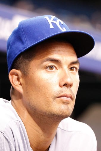 Jul 8, 2014; St. Petersburg, FL, USA; Kansas City Royals starting pitcher Jeremy Guthrie (11) in the dugout against the Tampa Bay Rays at Tropicana Field. Mandatory Credit: Kim Klement-USA TODAY Sports