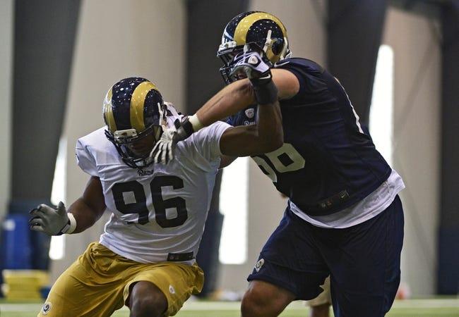 Jul 22, 2014; St. Louis, MO, USA; St. Louis Rams defensive end Michael Sam (96) runs through drills at Rams Park. Mandatory Credit: Jeff Curry-USA TODAY Sports