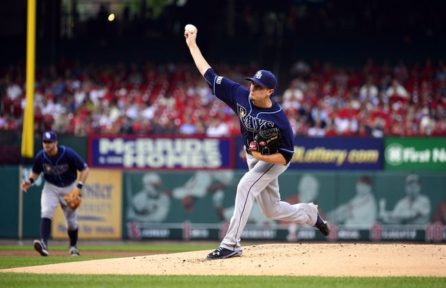 Jul 22, 2014; St. Louis, MO, USA; Tampa Bay Rays starting pitcher Jake Odorizzi (23) throws to a St. Louis Cardinals batter during the first inning at Busch Stadium. Mandatory Credit: Jeff Curry-USA TODAY Sports