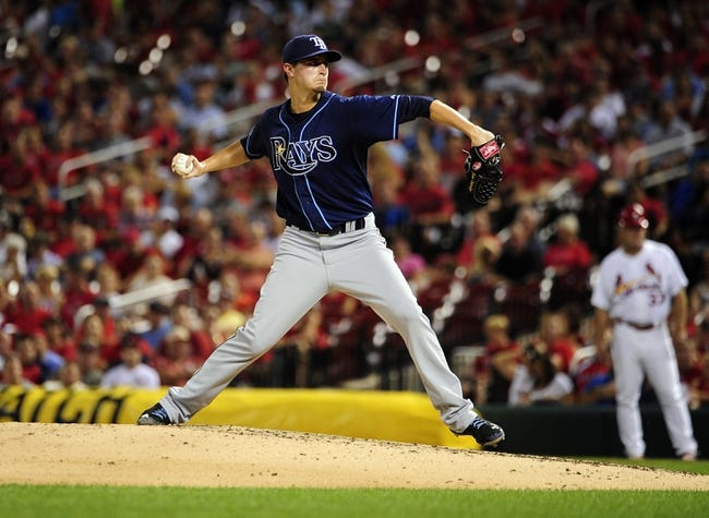 Jul 22, 2014; St. Louis, MO, USA; Tampa Bay Rays starting pitcher Jake Odorizzi (23) throws to a St. Louis Cardinals batter during the fifth inning at Busch Stadium. Mandatory Credit: Jeff Curry-USA TODAY Sports