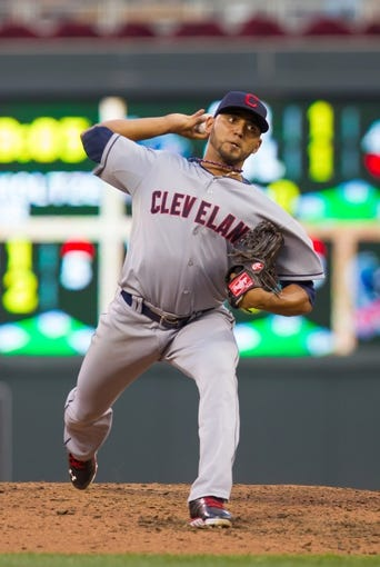 Jul 22, 2014; Minneapolis, MN, USA; Cleveland Indians starting pitcher Danny Salazar (31) pitches in the fourth inning against the Minnesota Twins at Target Field. The Cleveland Indians win 8-2. Mandatory Credit: Brad Rempel-USA TODAY Sports