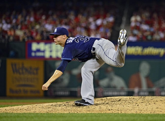 Jul 22, 2014; St. Louis, MO, USA; Tampa Bay Rays relief pitcher Jeff Beliveau (38) throws to a St. Louis Cardinals batter during the sixth inning at Busch Stadium. The Rays defeated the Cardinals 7-2. Mandatory Credit: Jeff Curry-USA TODAY Sports