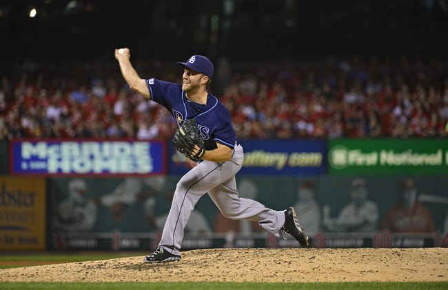 Jul 22, 2014; St. Louis, MO, USA; Tampa Bay Rays relief pitcher Brad Boxberger (26) throws to a St. Louis Cardinals batter during the eighth inning at Busch Stadium. The Rays defeated the Cardinals 7-2. Mandatory Credit: Jeff Curry-USA TODAY Sports