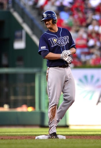 Jul 23, 2014; St. Louis, MO, USA; Tampa Bay Rays starting pitcher Alex Cobb (53) stands on second after hitting a one run double off of St. Louis Cardinals starting pitcher Lance Lynn (not pictured) during the second inning at Busch Stadium. Mandatory Credit: Jeff Curry-USA TODAY Sports