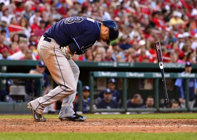 Jul 23, 2014; St. Louis, MO, USA; Tampa Bay Rays starting pitcher Alex Cobb (53) is hit in his pitching elbow by a pitch from St. Louis Cardinals starting pitcher Lance Lynn (not pictured) during the fourth inning at Busch Stadium. Mandatory Credit: Jeff Curry-USA TODAY Sports