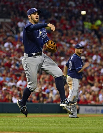 Jul 23, 2014; St. Louis, MO, USA; Tampa Bay Rays third baseman Evan Longoria (3) throws on the run to get St. Louis Cardinals second baseman Kolten Wong (not pictured) during the sixth inning at Busch Stadium. The Rays defeated the Cardinals 3-0. Mandatory Credit: Jeff Curry-USA TODAY Sports