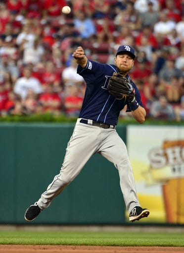 Jul 23, 2014; St. Louis, MO, USA; Tampa Bay Rays shortstop Ben Zobrist (18) throws but is unable to force out St. Louis Cardinals shortstop Jhonny Peralta (not pictured) during the fourth inning at Busch Stadium. The Rays defeated the Cardinals 3-0. Mandatory Credit: Jeff Curry-USA TODAY Sports