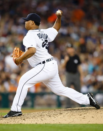 July 12, 2013; Detroit, MI, USA; Detroit Tigers relief pitcher Bruce Rondon (43) pitches against the Texas Rangers at Comerica Park. Mandatory Credit: Rick Osentoski-USA TODAY Sports
