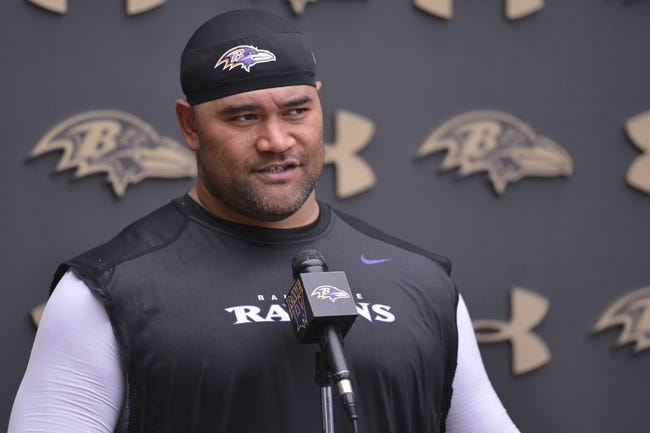 Jul 24, 2014; Owings Mills, MD, USA;  Baltimore Ravens nose tackle Haloti Ngata (92) speaks with the media after practice at Under Armour Performance Center. Mandatory Credit: Tommy Gilligan-USA TODAY Sports