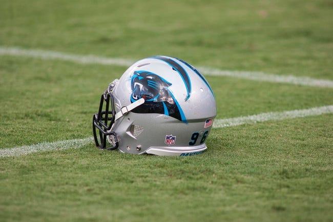Jul 25, 2014; Charlotte, NC, USA; A Carolina Panthers helmet lays on the field during training camp at Bank of America Stadium. Mandatory Credit: Jeremy Brevard-USA TODAY Sports
