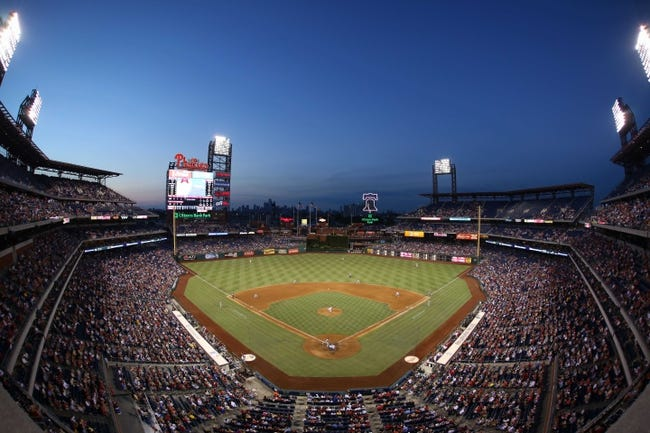 Jul 25, 2014; Philadelphia, PA, USA; General view of the ball park and evening sky during the fifth inning of a game between the Philadelphia Phillies and Arizona Diamondbacks at Citizens Bank Park. Mandatory Credit: Bill Streicher-USA TODAY Sports