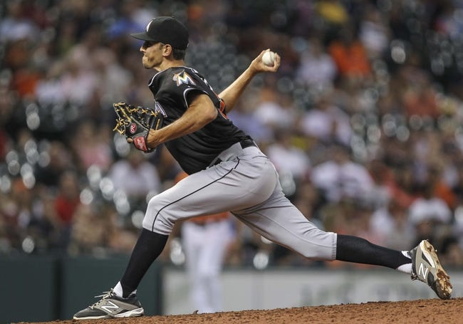 Jul 25, 2014; Houston, TX, USA; Miami Marlins relief pitcher Steve Cishek (31) pitches during the ninth inning against the Houston Astros at Minute Maid Park. Mandatory Credit: Troy Taormina-USA TODAY Sports
