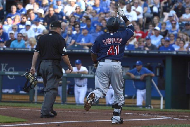 Jul 26, 2014; Kansas City, MO, USA; Cleveland Indians first baseman Carlos Santana (41) celebrates after hitting a home run against the Kansas City Royals in the second inning at Kauffman Stadium. Mandatory Credit: John Rieger-USA TODAY Sports