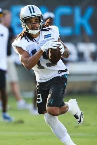 Jul 26, 2014; Spartanburg, SC, USA; Carolina Panthers wide receiver Kealoha Pilares (19) during training camp at Gibbs Stadium. Mandatory Credit: Jim Dedmon-USA TODAY Sports