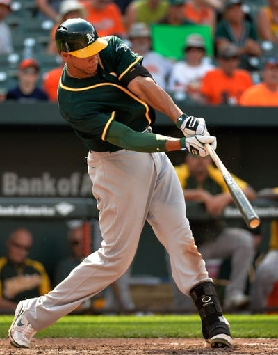 Jun 8, 2014; Baltimore, MD, USA; Oakland Athletics first baseman Kyle Blanks (88) bats in the ninth inning against the Baltimore Orioles at Oriole Park at Camden Yards. The Athletics defeated the Orioles 11-1. Mandatory Credit: Joy R. Absalon-USA TODAY Sports