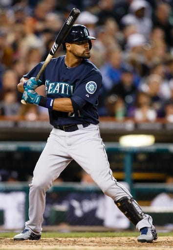 Sep 17, 2013; Detroit, MI, USA; Seattle Mariners center fielder Franklin Gutierrez (21) at bat against the Detroit Tigers at Comerica Park. Mandatory Credit: Rick Osentoski-USA TODAY Sports