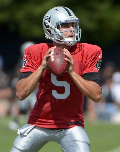 Jul 28, 2014; Napa, CA, USA; Oakland Raiders quarterback Trent Edwards (5) throws a pass at training camp at Napa Valley Marriott. Mandatory Credit: Kirby Lee-USA TODAY Sports