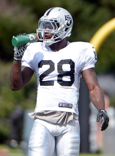 Jul 28, 2014; Napa, CA, USA; Oakland Raiders running back Latavius Murray (28) drinks out of a Gatorade squeeze bottle at training camp at Napa Valley Marriott. Mandatory Credit: Kirby Lee-USA TODAY Sports