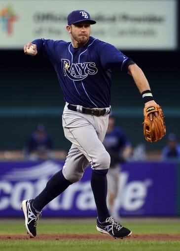 Jul 23, 2014; St. Louis, MO, USA; Tampa Bay Rays third baseman Evan Longoria (3) fields a throws out a St. Louis Cardinals third baseman during the third inning at Busch Stadium. The Rays defeated the Cardinals 3-0. Mandatory Credit: Jeff Curry-USA TODAY Sports
