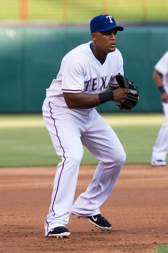 Jul 25, 2014; Arlington, TX, USA; Texas Rangers third baseman Adrian Beltre (29) during the game against the Oakland Athletics at Globe Life Park in Arlington. The Rangers defeated the Athletics 4-1. Mandatory Credit: Jerome Miron-USA TODAY Sports
