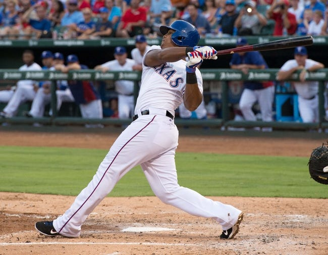 Jul 25, 2014; Arlington, TX, USA; Texas Rangers third baseman Adrian Beltre (29) bats during the game against the Oakland Athletics at Globe Life Park in Arlington. The Rangers defeated the Athletics 4-1. Mandatory Credit: Jerome Miron-USA TODAY Sports