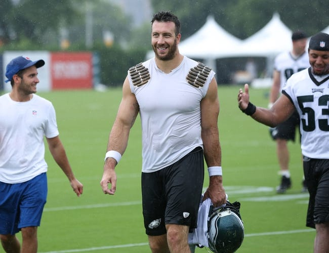 Jul 26, 2014; Philadelphia, PA, USA; Philadelphia Eagles outside linebacker Connor Barwin (98) walks off the field after practice at training camp at the Novacare Complex in Philadelphia PA. Mandatory Credit: Bill Streicher-USA TODAY Sports