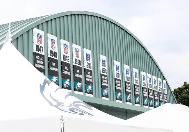 Jul 26, 2014; Philadelphia, PA, USA; Philadelphia Eagles championship banners hanging over the Novacare complex in Philadelphia PA. Mandatory Credit: Bill Streicher-USA TODAY Sports