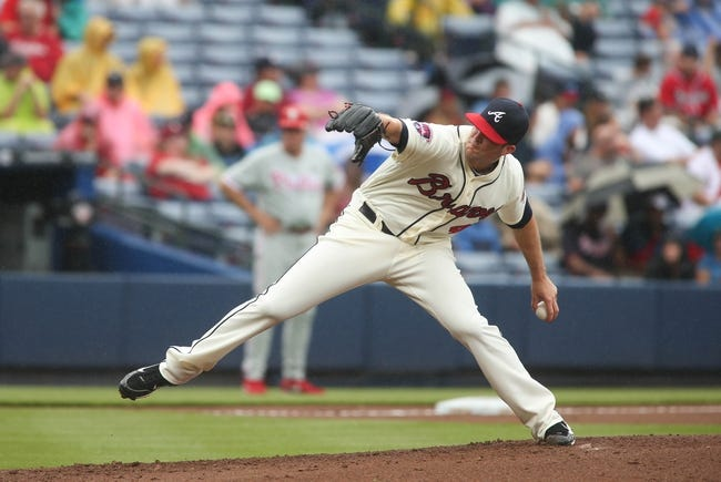 Jul 20, 2014; Atlanta, GA, USA; Atlanta Braves starting pitcher Alex Wood (40) delivers a pitch to a Philadelphia Phillies batter in the second inning of their game at Turner Field. The Braves won 8-2. Mandatory Credit: Jason Getz-USA TODAY Sports