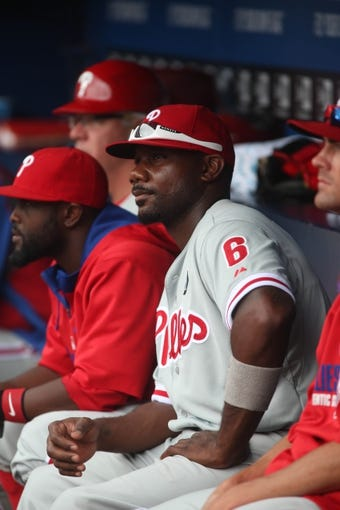 Jul 20, 2014; Atlanta, GA, USA; Philadelphia Phillies first baseman Ryan Howard (6) is shown in the dugout during their game against the Atlanta Braves at Turner Field. The Braves won 8-2. Mandatory Credit: Jason Getz-USA TODAY Sports
