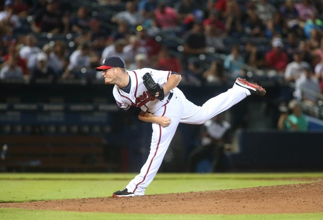Jul 24, 2014; Atlanta, GA, USA; Atlanta Braves relief pitcher Craig Kimbrel (46) throws to a Miami Marlins batter in the ninth inning of their game at Turner Field. Marlins won 3-2. Mandatory Credit: Jason Getz-USA TODAY Sports
