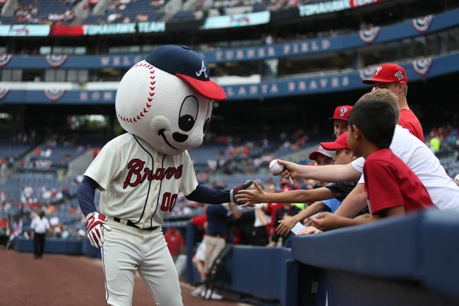 Jul 20, 2014; Atlanta, GA, USA; Atlanta Braves mascot Homer the Brave greets fans before their game against the  Philadelphia Phillies at Turner Field. The Braves won 8-2. Mandatory Credit: Jason Getz-USA TODAY Sports