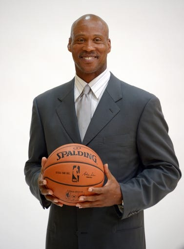 Jul 29, 2014; El Segundo, CA, USA; Byron Scott poses for a photo at a press conference to announce his hiring as Los Angeles Lakers coach at Toyota Sports Center. Mandatory Credit: Kirby Lee-USA TODAY Sports
