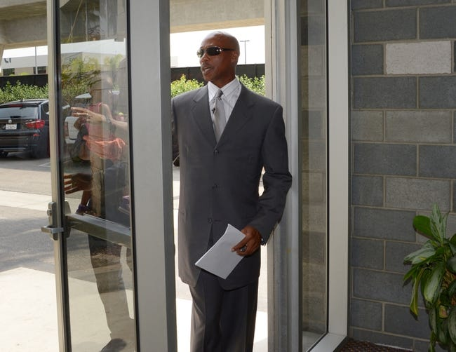 Jul 29, 2014; El Segundo, CA, USA; Byron Scott arrives at a press conference to announce his hiring as coach at Toyota Sports Center. Mandatory Credit: Kirby Lee-USA TODAY Sports