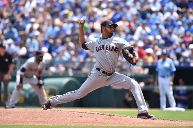 Jul 27, 2014; Kansas City, MO, USA; Cleveland Indians pitcher Danny Salazar (31) delivers a pitch against the Kansas City Royals during the first inning at Kauffman Stadium. Mandatory Credit: Peter G. Aiken-USA TODAY Sports