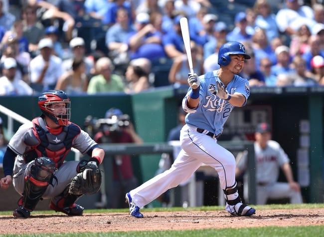 Jul 27, 2014; Kansas City, MO, USA; Kansas City Royals right fielder Nori Aoki (23) at bat against the Cleveland Indians during the fifth inning at Kauffman Stadium. Mandatory Credit: Peter G. Aiken-USA TODAY Sports