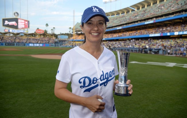 Jul 30, 2014; Los Angeles, CA, USA; British Open womens winner Mo Martin attends the MLB game between the Atlanta Braves and the Los Angeles Dodgers at Dodger Stadium. Mandatory Credit: Kirby Lee-USA TODAY Sports