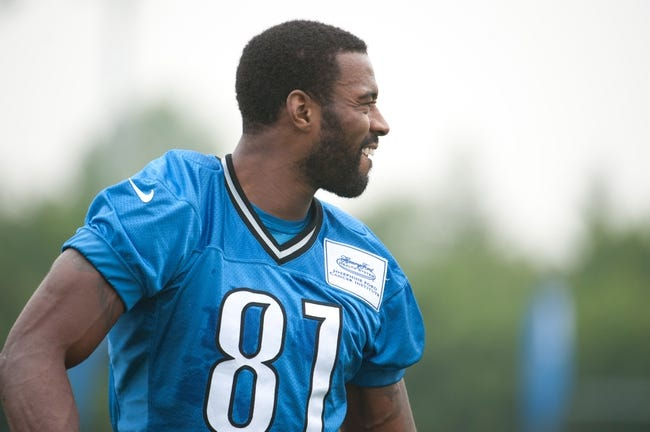 Aug 2, 2014; Detroit, MI, USA; Detroit Lions wide receiver Calvin Johnson (81) during training camp at the Lions training facility. Mandatory Credit: Tim Fuller-USA TODAY Sports