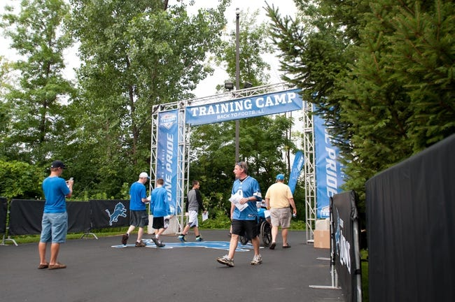 Aug 2, 2014; Detroit, MI, USA; A general view of the entrance of the Detroit Lions training facility prior to the Lions training camp. Mandatory Credit: Tim Fuller-USA TODAY Sports