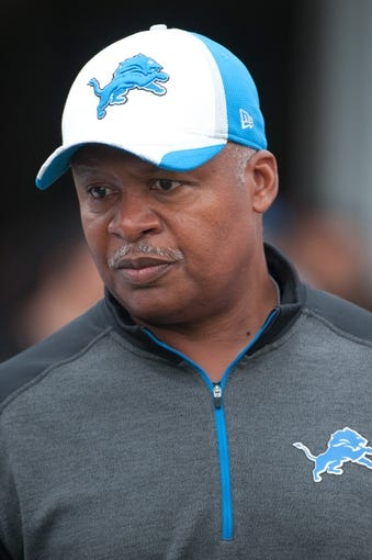 Aug 2, 2014; Detroit, MI, USA; Detroit Lions head coach Jim Caldwell walks to the field during training camp at the Lions training facility. Mandatory Credit: Tim Fuller-USA TODAY Sports