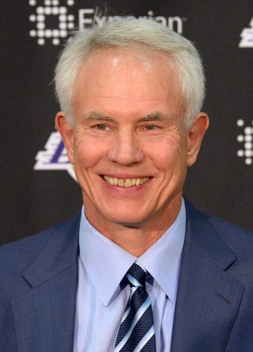Jul 29, 2014; El Segundo, CA, USA; Los Angeles Lakers general manager Mitch Kupchak at press conference to announce Byron Scott (not pictured) as coach at press conference at Toyota Sports Center. Mandatory Credit: Kirby Lee-USA TODAY Sports