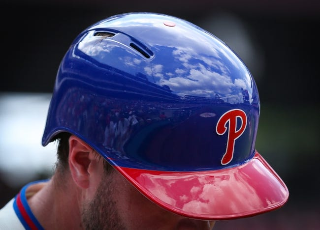 Jul 27, 2014; Philadelphia, PA, USA; Reflections of the sky and stadium off the helmet of Philadelphia Phillies left fielder Darin Ruf (18) during a game against the Arizona Diamondbacks at Citizens Bank Park. The Phillies won 4-2. Mandatory Credit: Bill Streicher-USA TODAY Sports