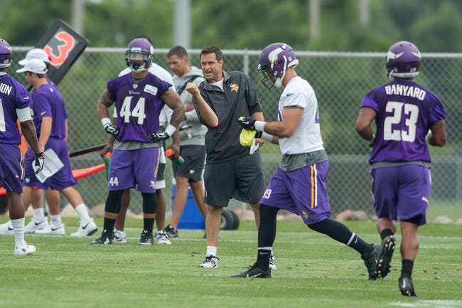 Jul 25, 2014; Mankato, MN, USA; Minnesota Vikings special teams coordinator Mike Priefer instructs his players at training camp at Minnesota State University. Mandatory Credit: Bruce Kluckhohn-USA TODAY Sports