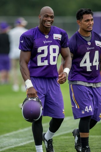 Jul 25, 2014; Mankato, MN, USA; Minnesota Vikings running back Adrian Peterson (28) laughs with running back Matt Asiata (44) as they leave the field at training camp at Minnesota State University. Mandatory Credit: Bruce Kluckhohn-USA TODAY Sports