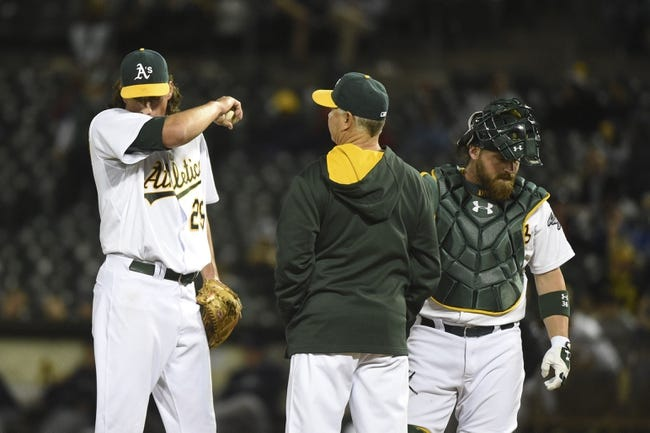August 4, 2014; Oakland, CA, USA; Oakland Athletics starting pitcher Jeff Samardzija (29, left) receives a mound visit by pitching coach Curt Young (41, center) and catcher Derek Norris (36, right) against the Tampa Bay Rays during the fifth inning at O.co Coliseum. Mandatory Credit: Kyle Terada-USA TODAY Sports