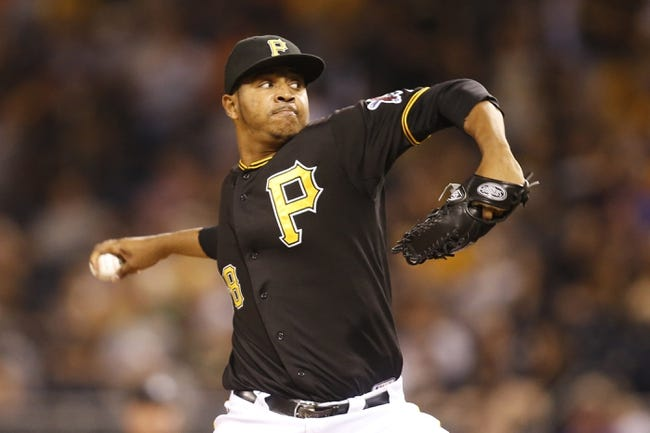 Aug 7, 2014; Pittsburgh, PA, USA; Pittsburgh Pirates relief pitcher Stolmy Pimentel (38) pitches against the Miami Marlins during the ninth inning at PNC Park. The Pirates won 7-2. Mandatory Credit: Charles LeClaire-USA TODAY Sports