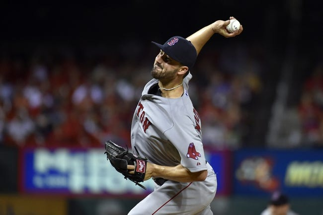 Aug 7, 2014; St. Louis, MO, USA;  Boston Red Sox starting pitcher Brandon Workman (67) pitches against the St. Louis Cardinals at Busch Stadium. Mandatory Credit: Jasen Vinlove-USA TODAY Sports