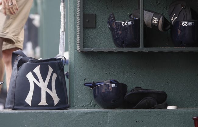 Jul 28, 2014; Arlington, TX, USA; New York Yankees bag and helmets before the game against the Texas Rangers at Globe Life Park in Arlington. Mandatory Credit: Kevin Jairaj-USA TODAY Sports