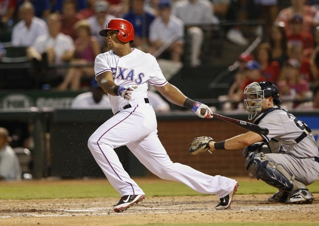 Jul 28, 2014; Arlington, TX, USA; Texas Rangers third baseman Adrian Beltre (29) hits during the game against the New York Yankees at Globe Life Park in Arlington. Mandatory Credit: Kevin Jairaj-USA TODAY Sports